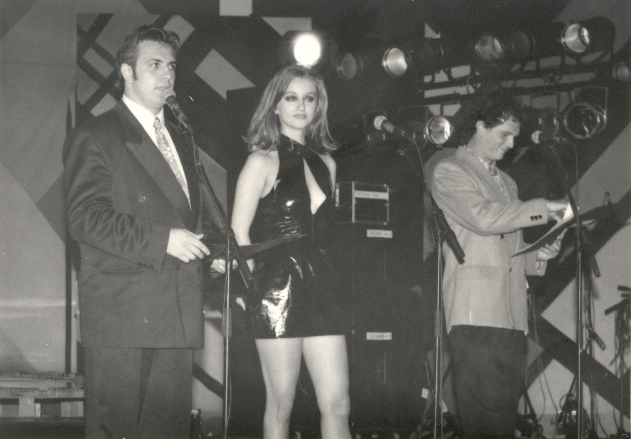 1996 - Leonard Miron, Tania Budi si Horia Brenciu - prezentatori Amara 1996.jpg